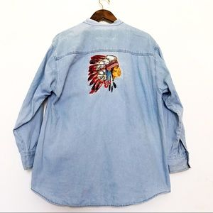 VTG Denim Native American Chief Embroidered Top